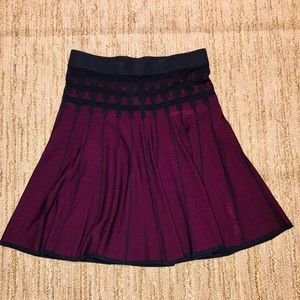 Sophisticated black embroidered knit skirt
